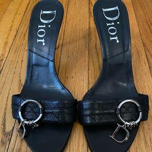 Dior Black Leather Mules